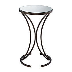 Antique Bronze Finish Accent Table with Mirrored Top