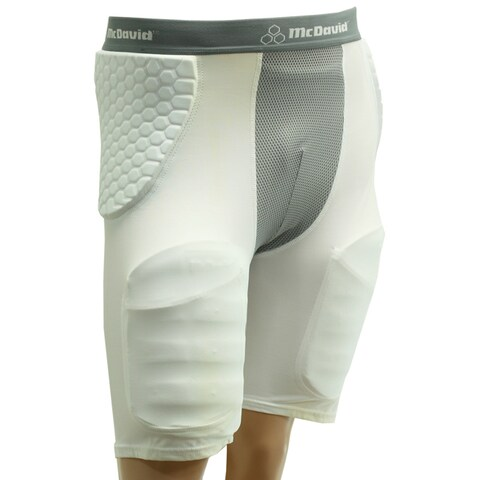 McDavid Adult HexPad HexMesh Pro-Compression Football Girdle with Thigh Pads and Cup Included - White/Grey