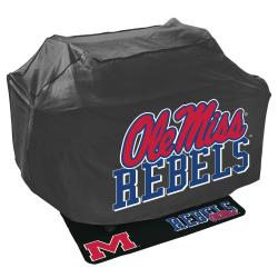 Ole Miss Runnin Rebels Black Polyester Grill Cover and Vinyl Mat Set