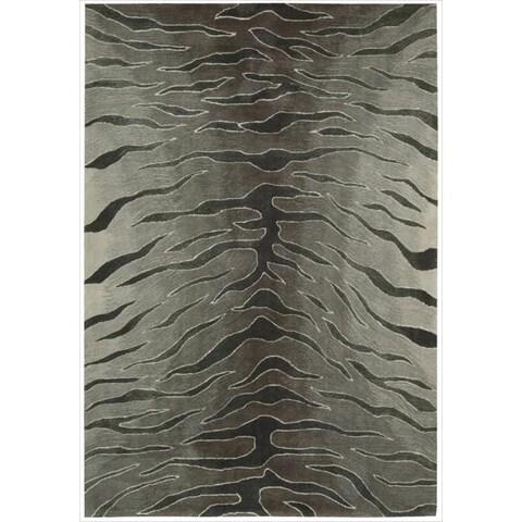 "Nourison Hand-tufted Contours Animal Print Silver Rug - 7'3"" x 9'3"""