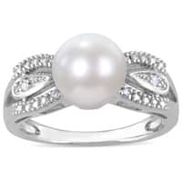 Miadora Sterling Silver FW Pearl and Diamond Accent Ring (9-9.5 mm)