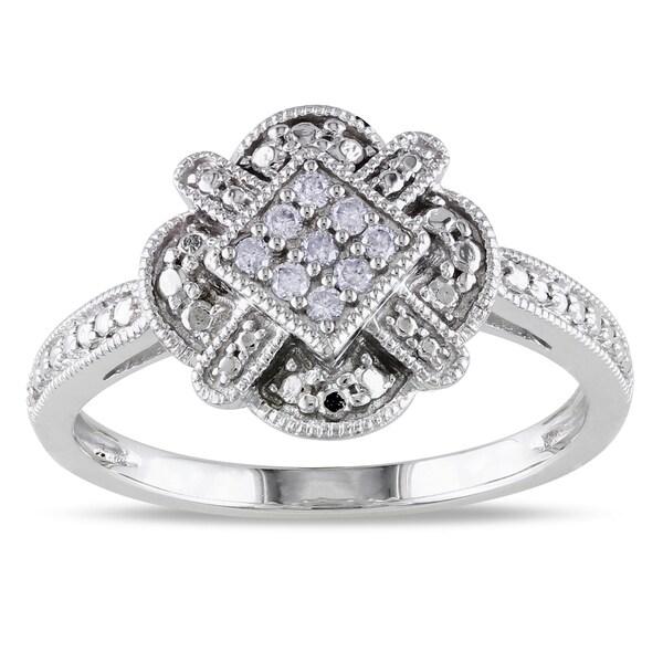 Miadora 10k White Gold 1/10ct TDW Diamond Ring (G-H, I1-I2)