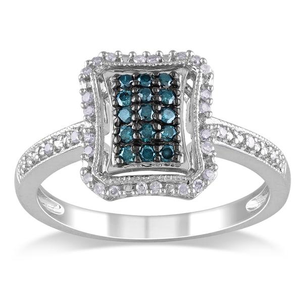 Miadora Silver 1/4ct TDW Blue and White Diamond Halo Ring