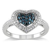 Miadora Silver 1/4ct TDW Blue and White Diamond Heart Ring