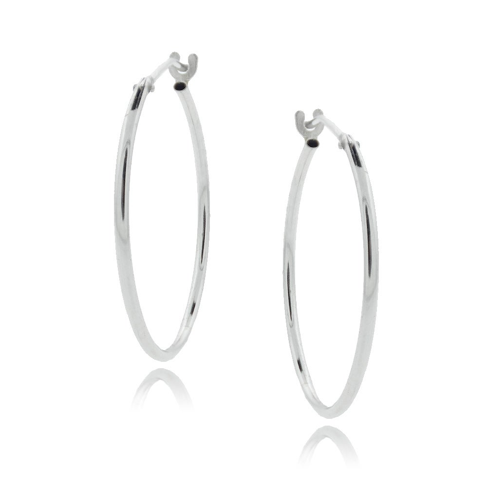 Mondevio 10-karat High-polished One-mm White Gold Saddleback Hoop Earrings