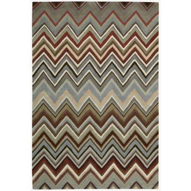 Nourison Hand-tufted Contours Zigzag Multicolor Rug (5' x 7'6)