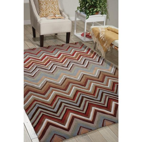 """Nourison Hand-tufted Contours Zigzag Multicolor Rug (5' x 7'6) - 5' x 7'6"""""""