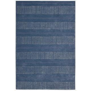 Nourison Hand-tufted Contours Striped Denim Rug (5' x 7'6)