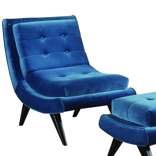 Armen Living 5th Avenue Velvet Armless Swayback Cerulean Blue Lounge Chair