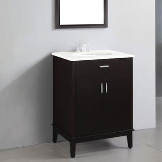 WYNDENHALL Oxford Dark Espresso Brown 2-door 24-inch Bath Vanity Set with White Quartz Marble Top