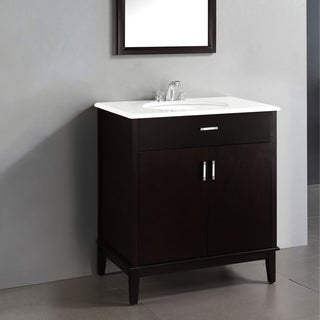 WYNDENHALL Oxford Dark Espresso Brown 2-door 30-inch Bath Vanity Set with White Quartz Marble Top