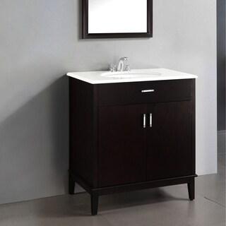 WYNDENHALL Oxford Dark Espresso Brown 2-door 30-inch Bath Vanity Set with White Quartz Marble Top