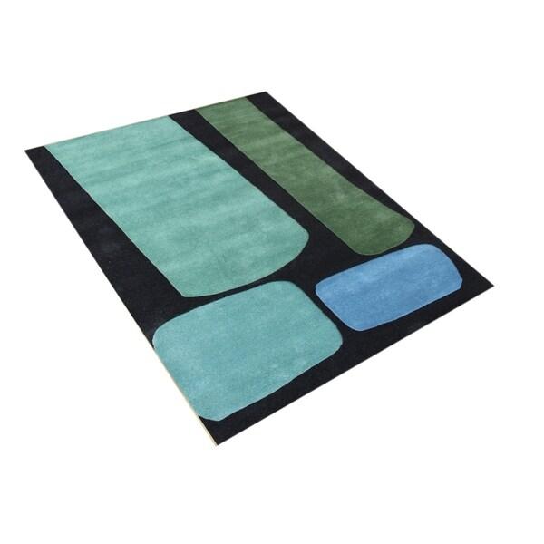 Metro Handmade Jet Black Wool Rug - 8' x 10'