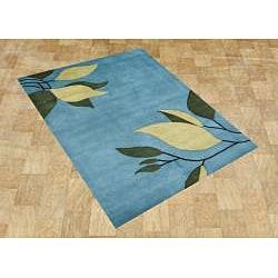 Alliyah Handmade Alaskan Blue New Zeeland Blend Wool Rug (5' x 8')