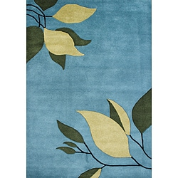 Alliyah Handmade Alaskan Blue New Zeeland Blend Wool Rug - 5' x 8' - Thumbnail 0