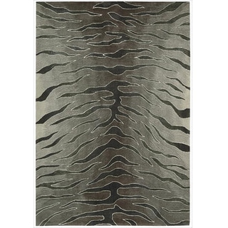 Nourison Hand-tufted Contours Animal Print Silver Rug (5' x 7'6)