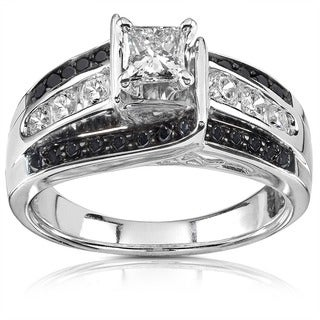 Annello by Kobelli 14k White Gold 7/8ct TDW Black and White Diamond Ring