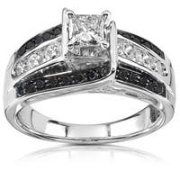 Annello by Kobelli 14k White Gold 7/8ct TDW Black and White Diamond Ring
