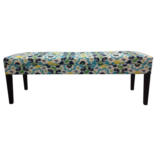 Sole Designs Blue Flora Tufted Bench