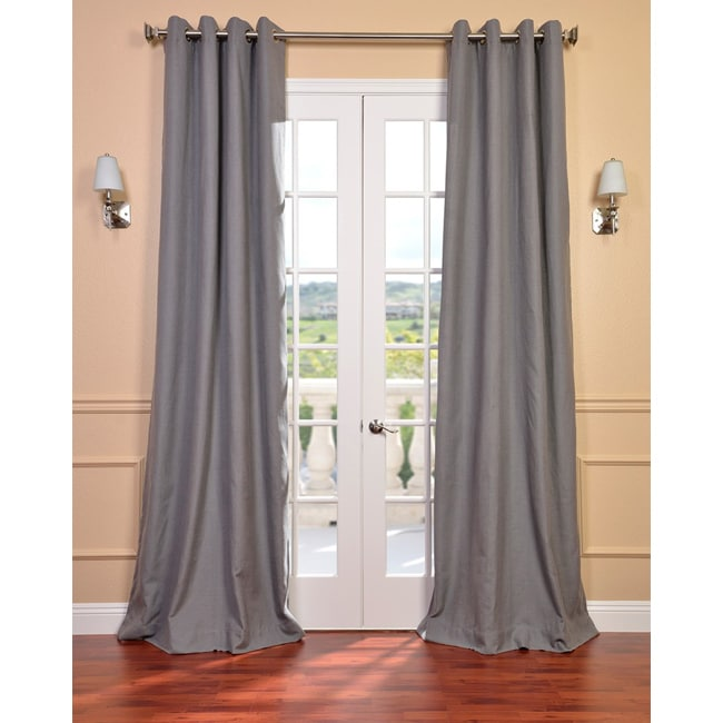Exclusive Fabrics Weathered Grey Linen Blend Grommet Curtain Panel - Thumbnail 0