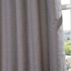 Exclusive Fabrics Weathered Grey Linen Blend Grommet Curtain Panel - Thumbnail 1