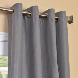 Exclusive Fabrics Weathered Grey Linen Blend Grommet Curtain Panel - Thumbnail 2