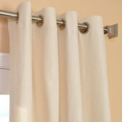 Exclusive Fabrics Cream Linen Blend Grommet Curtain Panel - Thumbnail 2