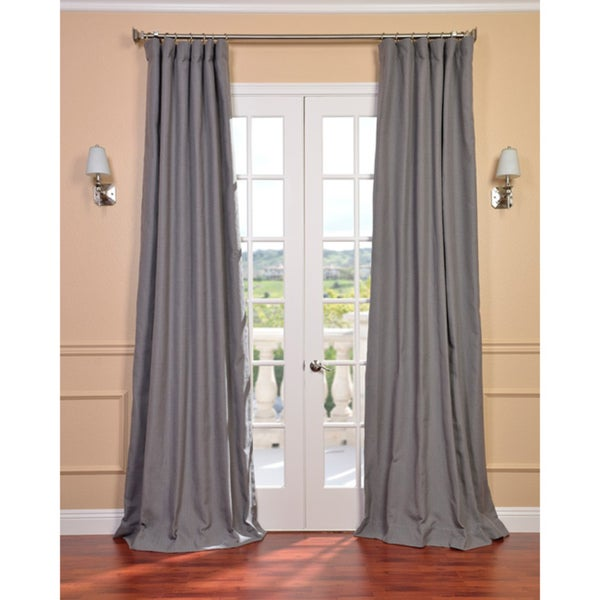 Exclusive Fabrics Weathered Grey Linen Blend Curtain Panel