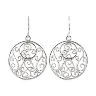 Sunstone Sterling Silver Filigree Swirl Round Dangle Earrings