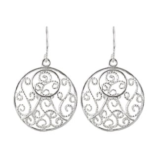 Sunstone Sterling Silver Filigree Swirl Round Dangle Earrings