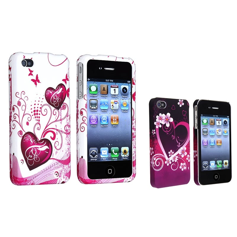 INSTEN Snap-on Heart Phone Case Cover Variety Set for Apple iPhone 4/ 4S