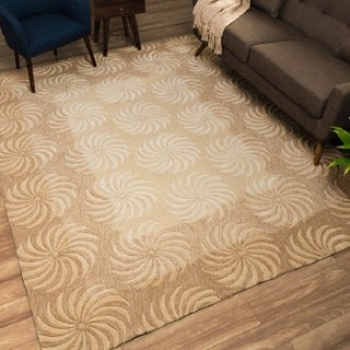 Nourison Hand-tufted Contours Taupe Rug (5' x 7'6)
