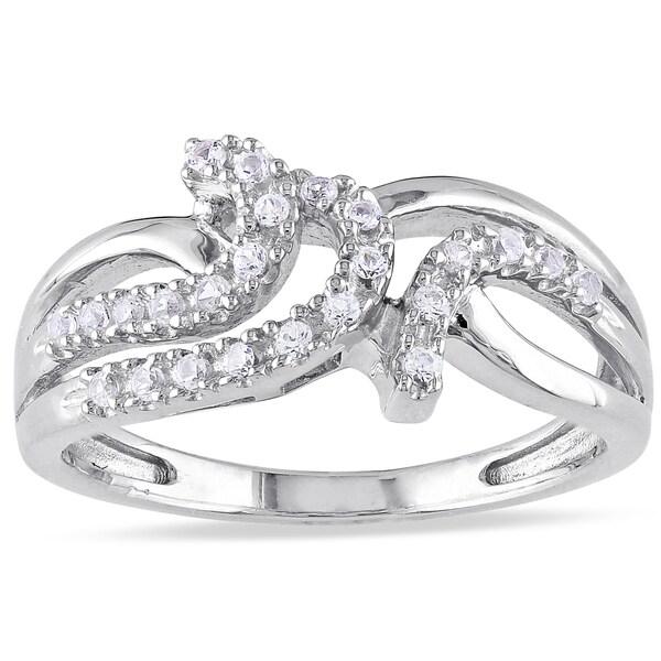 Miadora Sterling Silver Created White Sapphire Swirl Ring