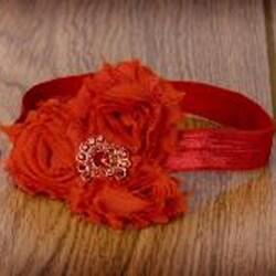 Red Rolled Flower Headband
