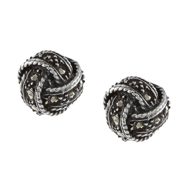 Glitzy Rocks Sterling Silver Marcasite Love Knot Stud Earrings
