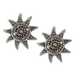 Glitzy Rocks Sterling Silver Marcasite Sun Stud Earrings