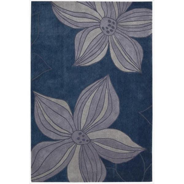 Nourison Hand-tufted Contours Floral Blue Rug (5' x 7'6)