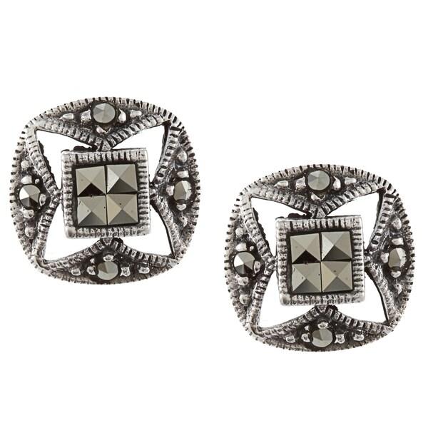 Glitzy Rocks Sterling Silver Marcasite Stud Earrings