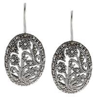 Glitzy Rocks Sterling Silver Marcasite Filigree Oval Dangle Earrings