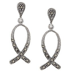 Glitzy Rocks Sterling Silver Marcasite Ribbon Dangle Earrings