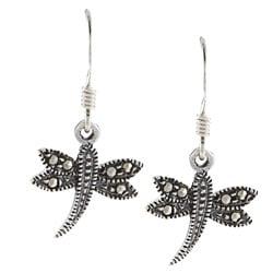 Glitzy Rocks Sterling Silver Marcasite Dragonfly Dangle Earrings