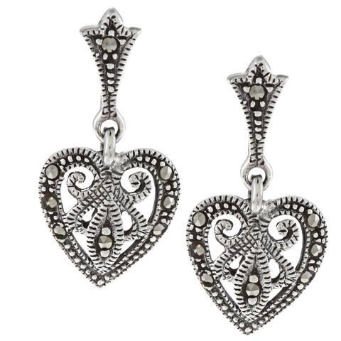 Glitzy Rocks Sterling Silver Marcasite Heart Drop Dangle Earrings