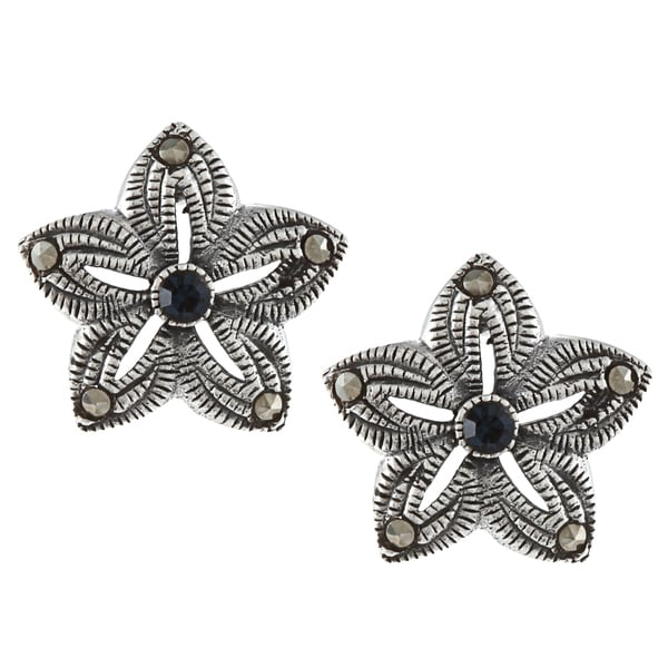 Glitzy Rocks Sterling Silver Marcasite and Blue Cubic Zirconia Flower Stud Earrings