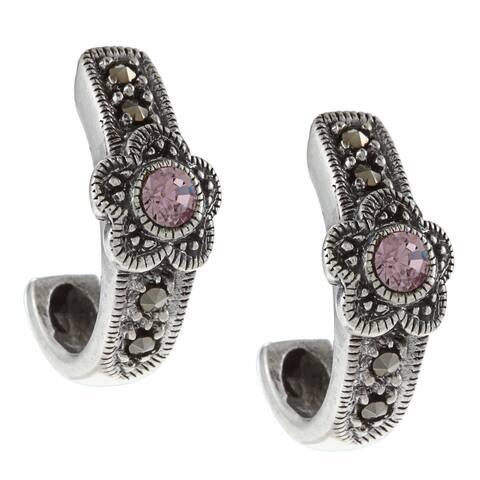 Glitzy Rocks Silver Marcasite and Lavender Cubic Zirconia Open Hoop Earrings
