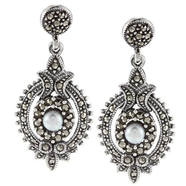 Glitzy Rocks Sterling Silver Marcasite and Faux Pearl Art Deco Dangle Earrings