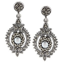 Glitzy Rocks Sterling Silver Marcasite and Faux Pearl Art Deco Dangle Earrings