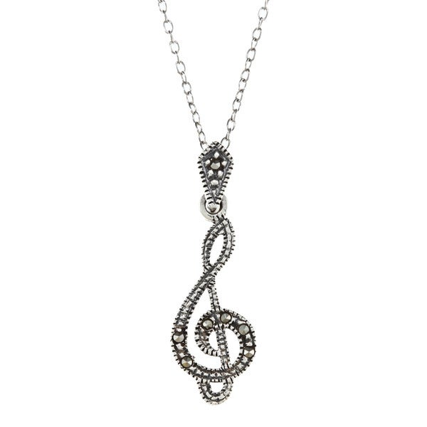 Glitzy Rocks Sterling Silver Marcasite Musical Note Necklace