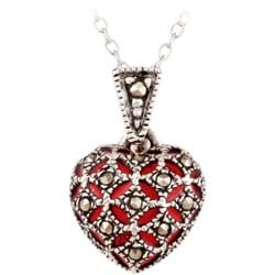 Glitzy Rocks Sterling Silver Marcasite Red Enamel Heart Necklace