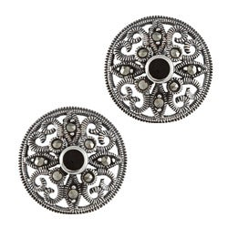 Glitzy Rocks Sterling Silver Marcasite and Onyx Filigree Round Stud Earrings