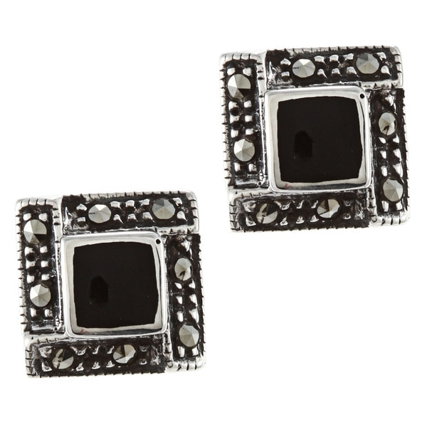 Glitzy Rocks Sterling Silver Marcasite And Onyx Square Stud Earrings